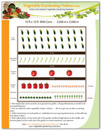 10 X 10 with Corn Free Vegetable Garden Plan