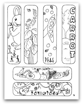Free Coloring Activity Bookmarks For Kids Printable Vegetable Garden