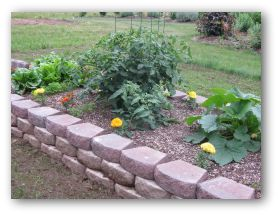 building a raised vegetable garden with concrete garden wall blocks