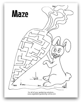 garden carrot maze printable - Kids Activity Worksheet