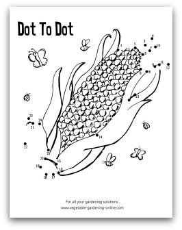 garden corn dot to dot printable - Activity Worksheet For Kindergarten