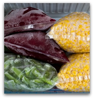 Frozen Beets, Corn, and Green Beans From the Garden