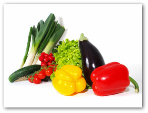 leeks, tomatoes, eggplant and bell peppers