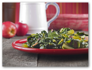 cooked collard greens on a plate