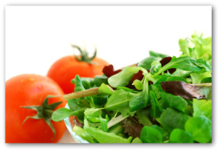 fresh salad with leaf lettuce and tomatoes