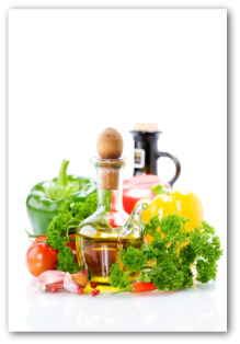 parsley, fresh vegetables, olive oil and vinegar