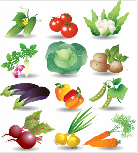 colorful graphic of vegetables including  peas