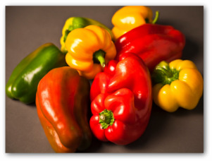 red, yellow and green fresh bell peppers