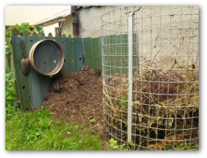 home made compost pile in a backyard