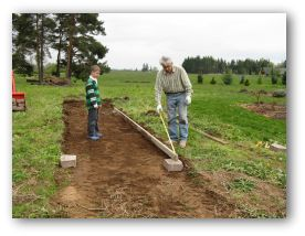 preparing the ground to put in a container garden