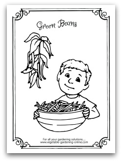 Garden Green Bean Printable Coloring Page