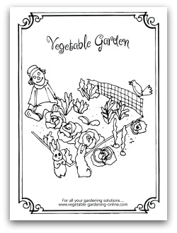 vegetable garden printable coloring page for kids