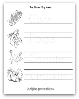 Vegetable Writing Practice Printable