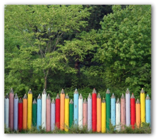 Wooden Garden Fence Painted Like Colored Pencils