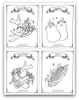 Green Beans, Eggplant, Cucumber, and Corn Printable Coloring Page