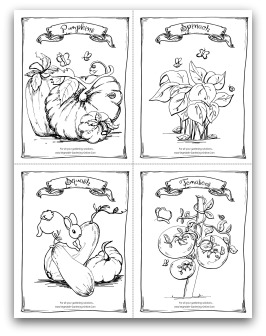 Pumpkin, Spinach, Squash, and Tomato Printable Coloring Page
