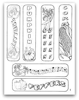 printable vegetable garden bookmarks