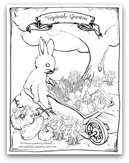 Printable Bunny with Wheelbarrow Coloring Page