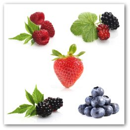 red raspberries, blueberries and blackberries