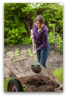 Adding Compost to Garden
