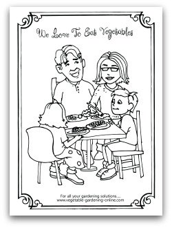 Family Eating Vegetables Printable Coloring Page