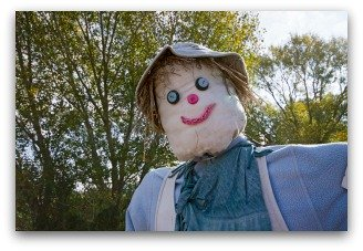 Friendly Scarecrow Face Made from Pillowcase