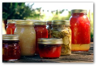 canned vegetables from the garden